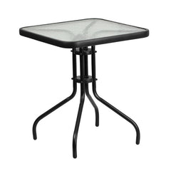 Commercial 23.5'' Square Tempered Glass Metal Table - YourBarStoolStore + Chairs, Tables and Outdoor