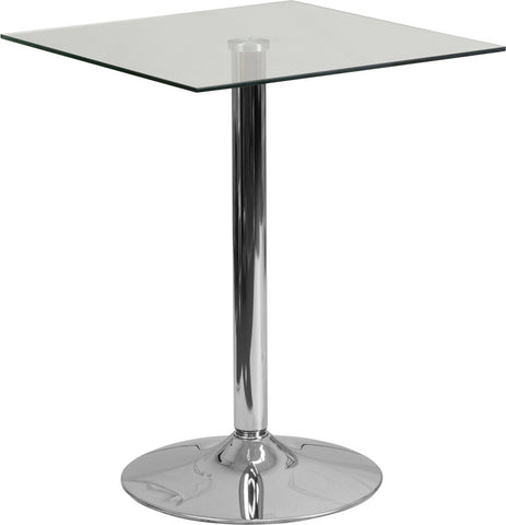 Commercial Bar Table - 23.75'' SQUARE GLASS TABLE WITH 30''H CHROME BASE