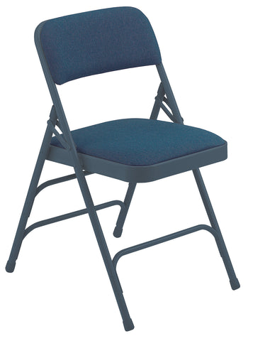 Blue on Blue Fabric Upholstered Premium Folding Chairs Triple Brace Double Hinge 2304