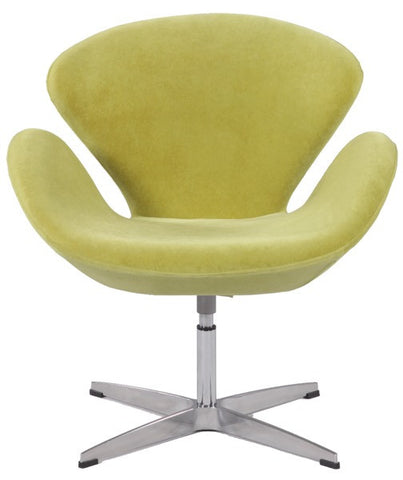 Chintaly Swivel Arm Fun Chair Green Faux Velvet 2378-ACC