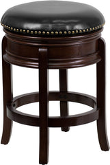 24'' Backless Cappuccino Wood Counter Height Stool with Black Leather Swivel Seat - YourBarStoolStore + Chairs, Tables and Outdoor