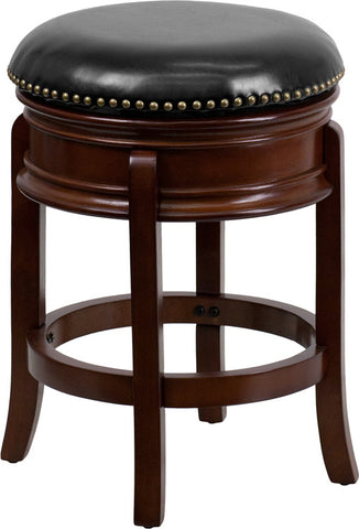 Backless Cherry Wood Counter Height Stool with Black Leather Swivel Seat