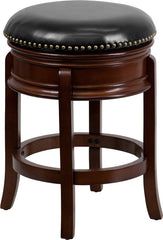 Backless Cherry Wood Counter Height Stool with Black Leather Swivel Seat - YourBarStoolStore + Chairs, Tables and Outdoor