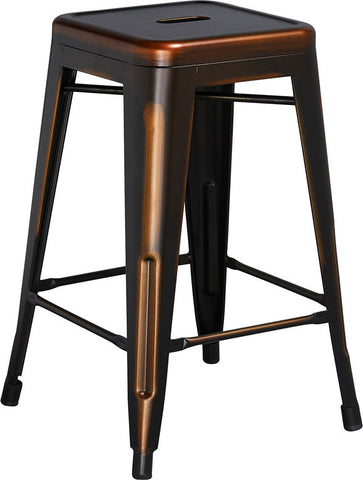 Tolix Style 24'' High Backless Distressed Copper Metal Indoor/ Outdoor Counter Height Stool