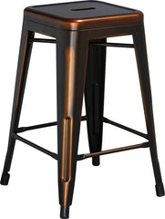 Tolix Style 24'' High Backless Distressed Copper Metal Indoor/ Outdoor Counter Height Stool - YourBarStoolStore + Chairs, Tables and Outdoor