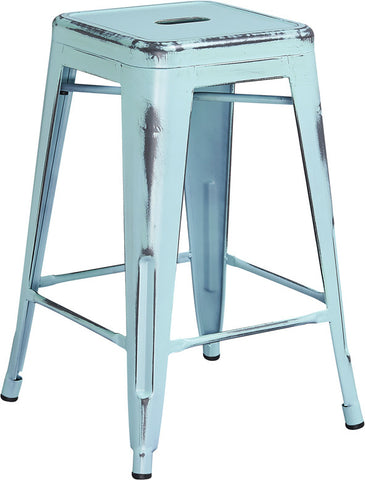 Tolix Style 24'' High Backless Distressed Dream Blue Metal Indoor/ Outdoor Counter Height Stool