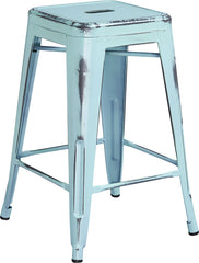 Tolix Style 24'' High Backless Distressed Dream Blue Metal Indoor/ Outdoor Counter Height Stool - YourBarStoolStore + Chairs, Tables and Outdoor