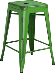 Tolix Style 24'' High Backless Distressed Green Metal Indoor/ Outdoor Counter Height Stool - YourBarStoolStore + Chairs, Tables and Outdoor