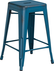 Tolix Style 24'' High Backless Distressed Kelly Blue Metal Indoor/ Outdoor Counter Height Stool - YourBarStoolStore + Chairs, Tables and Outdoor
