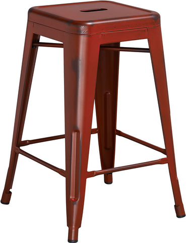 Tolix Style 24'' High Backless Distressed Kelly Red Metal Indoor/ Outdoor Counter Height Stool