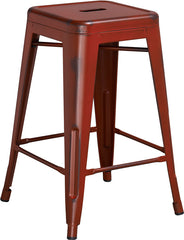 Tolix Style 24'' High Backless Distressed Kelly Red Metal Indoor/ Outdoor Counter Height Stool - YourBarStoolStore + Chairs, Tables and Outdoor