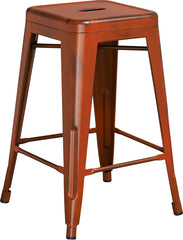 Tolix Style 24'' High Backless Distressed Orange Metal Indoor/ Outdoor Counter Height Stool - YourBarStoolStore + Chairs, Tables and Outdoor