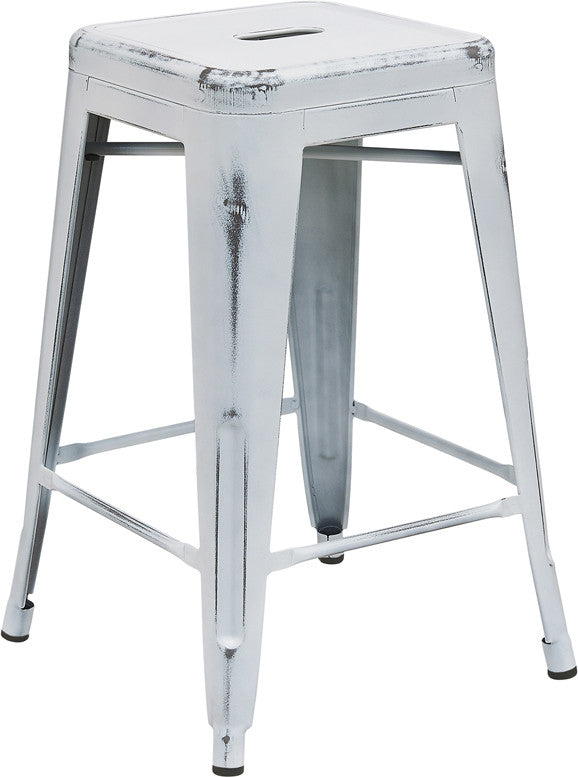 Tolix Style 24u0027u0027 High Backless Distressed White Metal Indoor/ Outdoor  Counter Height Stool