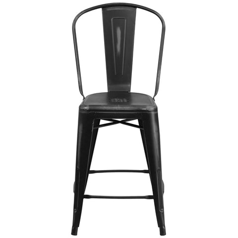 Tolix Style 24'' High Distressed Black Metal Indoor/ Outdoor Counter Height Stool With Back