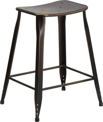 Industrial Pedestal Counter Stool Distressed Copper Metal Indoor-Outdoor - YourBarStoolStore + Chairs, Tables and Outdoor