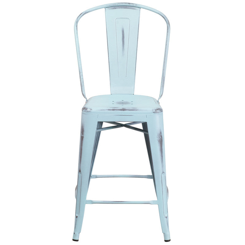 Residential High Distressed Dream Blue Metal Counter Stools