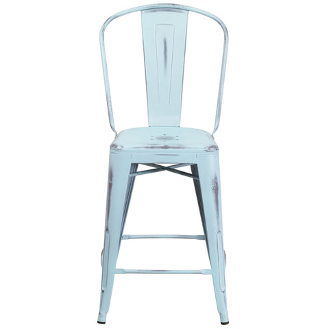 Tolix Style 24'' High Distressed Dream Blue Metal Indoor/ Outdoor Counter Stool With Back