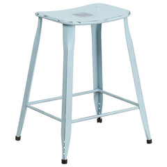 Industrial Pedestal Counter Stool Distressed Dream Blue Metal Indoor-Outdoor - YourBarStoolStore + Chairs, Tables and Outdoor