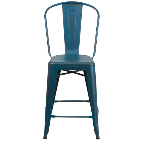 Tolix Style 24'' High Distressed Kelly Blue Metal Indoor/ Outdoor Counter Height Stool With Back