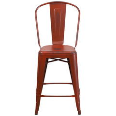 Tolix Style 24'' High Distressed Kelly Red Metal Indoor/ Outdoor Counter Height Stool With Back - YourBarStoolStore + Chairs, Tables and Outdoor  - 1