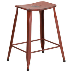 Industrial Pedestal Counter Stool Distressed Kelly Red Metal Indoor-Outdoor - YourBarStoolStore + Chairs, Tables and Outdoor