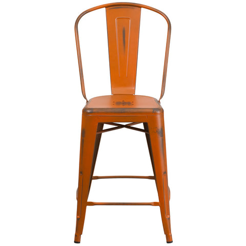 Tolix Style 24'' High Distressed Orange Metal Indoor/ Outdoor Counter Height Stool With Back