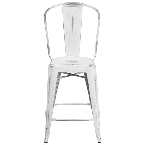 Tolix Style 24'' High Distressed White Metal Indoor/ Outdoor Counter Height Stool With Back