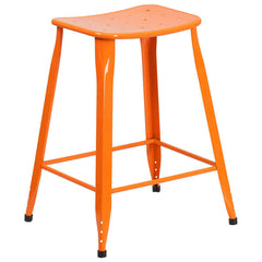 Industrial Pedestal Counter Stool Orange Metal Indoor-Outdoor - YourBarStoolStore + Chairs, Tables and Outdoor