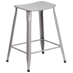 Industrial Pedestal Counter Stool Silver Metal Indoor-Outdoor - YourBarStoolStore + Chairs, Tables and Outdoor