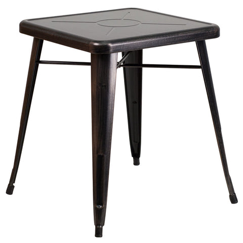 Commercial Bar Table - 23.75'' SQUARE BLACK-ANTIQUE GOLD METAL INDOOR-OUTDOOR TABLE