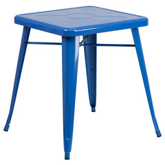 Commercial Bar Table - 23.75'' SQUARE BLUE METAL INDOOR-OUTDOOR TABLE - YourBarStoolStore + Chairs, Tables and Outdoor
