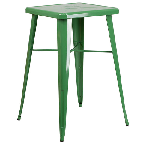 Commercial Bar Table - 23.75'' SQUARE GREEN METAL INDOOR-OUTDOOR BAR HEIGHT TABLE