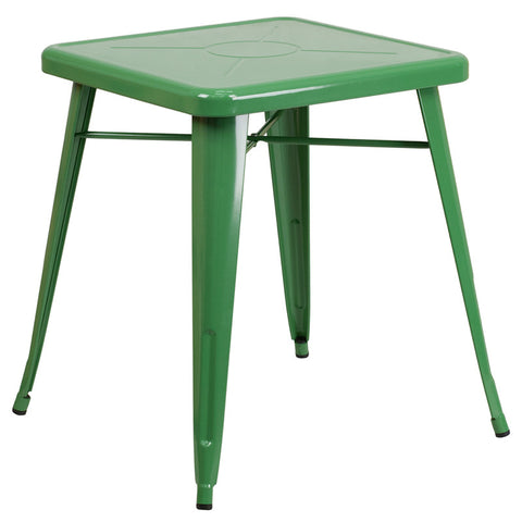 Commercial Bar Table - 23.75'' SQUARE GREEN METAL INDOOR-OUTDOOR TABLE