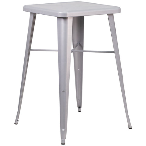 Commercial Bar Table - 23.75'' SQUARE SILVER METAL INDOOR-OUTDOOR BAR HEIGHT TABLE