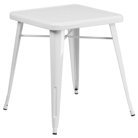 Commercial Bar Table - 23.75'' SQUARE WHITE METAL INDOOR-OUTDOOR TABLE