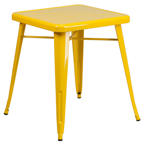 Commercial Bar Table - 23.75'' SQUARE YELLOW METAL INDOOR-OUTDOOR TABLE