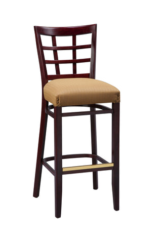"Regal Seating 26"" Beechwood Lattice Back Stool-Fully Upholstered Seat W/ Nail Trim 2411fus"