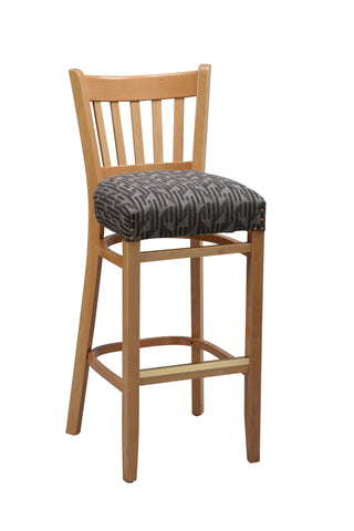 "Regal Seating 26"" Beechwood Vertical Slat Stool-Fully Upholstered Seat W/ Nail Trim 2423fus"