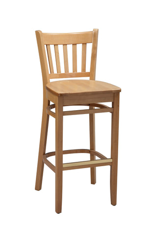 "Regal Seating 31"" Beechwood Vertical Slat Stool - Wood Seat 2423w"