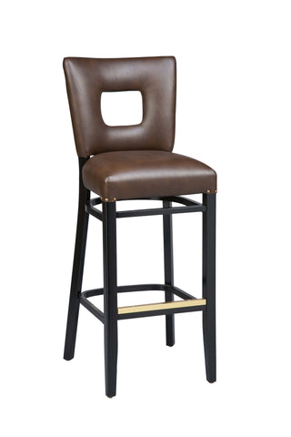 "Regal Seating 31"" Beechwood Square Cut Out Back Stool With Fully Upholstered Seat 2426fus"
