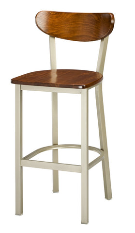 "Regal Seating 24"" Steel Frame-Moon Wood Seat/Back Stool 2511w"