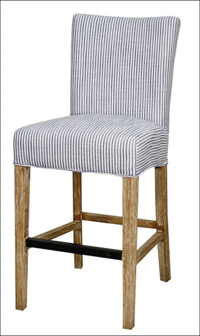 Milton Fabric Counter Stool NWO Legs, Blue Stripes