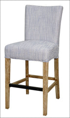 Milton Fabric Bar Stool NWO Legs, Blue Stripes - YourBarStoolStore + Chairs, Tables and Outdoor