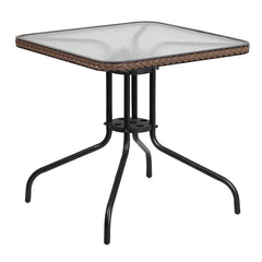 Commercial 28'' Square Tempered Glass Metal Table with Dark Brown Rattan Edging - YourBarStoolStore + Chairs, Tables and Outdoor