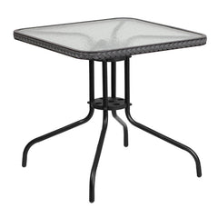 Commercial 28'' Square Tempered Glass Metal Table with Gray Rattan Edging - YourBarStoolStore + Chairs, Tables and Outdoor
