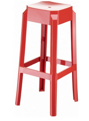 Compamia Fox Polycarbonate Bar Stool Glossy Red ISP037-GRED - YourBarStoolStore + Chairs, Tables and Outdoor  - 1