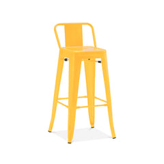 Dreux Glossy Yellow Low Back Steel Counter Stool 26 Inch
