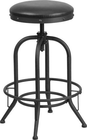 Industrial Adjustable 30'' Barstool with Swivel Lift Black Leather Seat