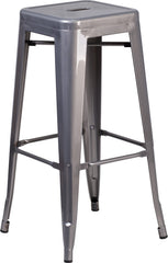 "Tolix Style 30"" Clear Backless Metal Stool"