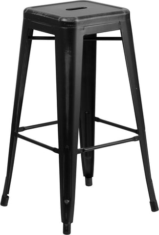 Tolix Style 30'' High Backless Distressed Black Metal Indoor/ Outdoor Barstool